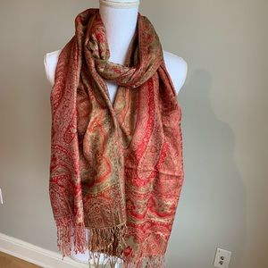 Red & gold pashmina scarf